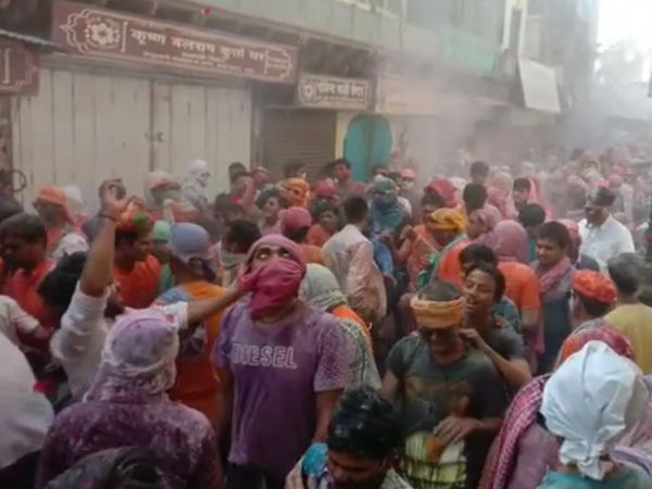 भरतपुर में होली के उल्लास में डूबे लोग। - Dainik Bhaskar