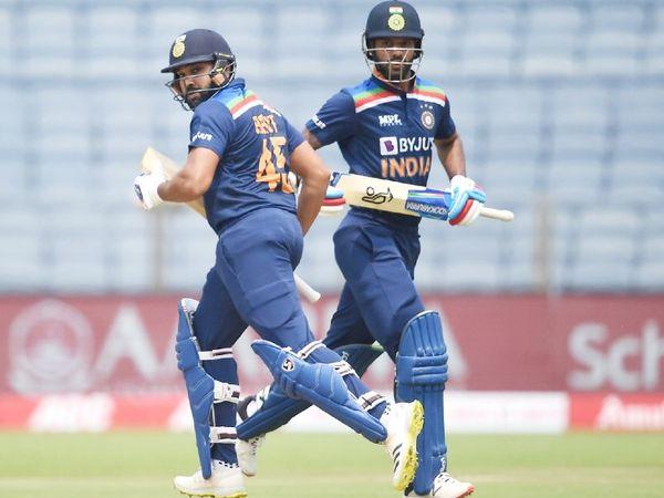 रोहित शर्मा और शिखर धवन ने 91 बॉल पर 103 रन की ओपनिंग पार्टनरशिप की।