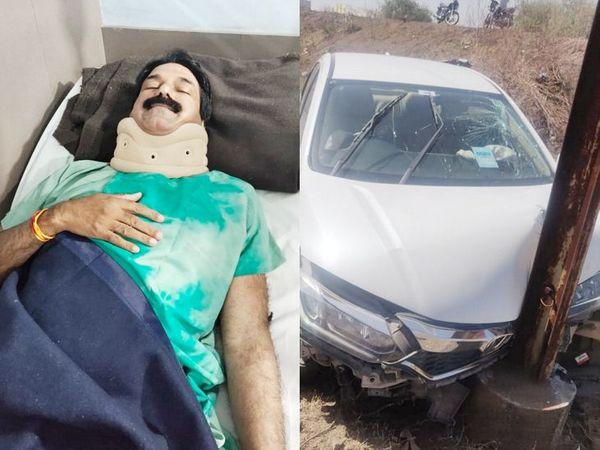 कार के पोल में टकराने से यादव के सिर और गर्दन में चोट आई है। - Dainik Bhaskar