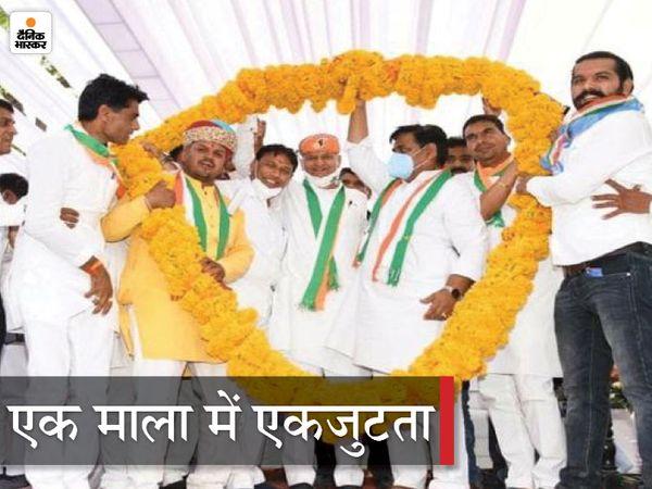 राजसमंद कांग्रेस प्रत्याशी के समर्थन में जनसभा में पहुंचे मुख्यमंत्री गहलोत और कांग्रेस प्रदेश अध्यक्ष गोविंद सिंह डोटासरा। - Dainik Bhaskar
