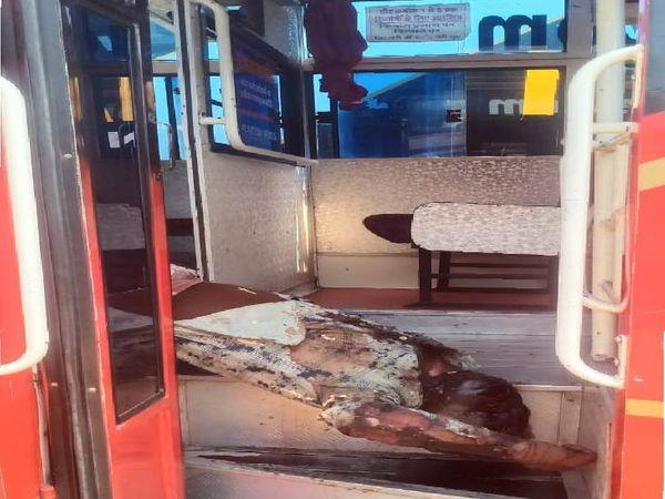 यात्री बस में मिली क्लीनर की डी-कम्पोज हाे चुकी लाश। - Dainik Bhaskar