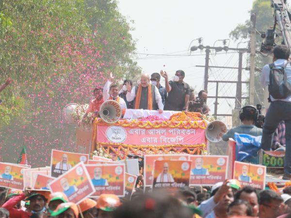 चुनाव प्रचार के आखिरी दिन मंगलवार को गृहमंत्री अमित शाह ने नंदीग्राम, डेबरा और पंसकुरा पश्चिम में रोड शो किया।