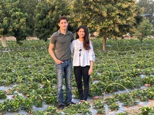 चंडीगढ़ की रहने वाली वृत्ति नरूला अपने भाई पार्थ नरूला के साथ मिलकर पिछले एक साल से स्ट्रॉबेरी की खेती कर रही हैं। - Dainik Bhaskar