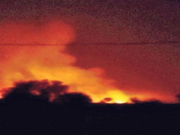 बेगूं। जल सागर के पास जंगल में लगी आग। - Dainik Bhaskar