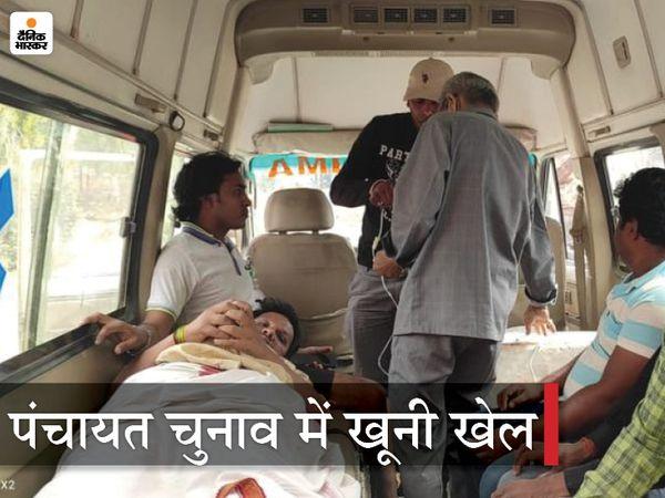 घायल RJD नेता साकेत कुमार गुड्डू। - Dainik Bhaskar