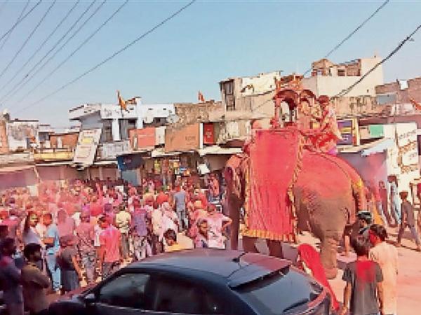 हाेली पर हाथी पर सवार हाेकर नगर भ्रमण पर निकले ठाकुरजी। - Dainik Bhaskar