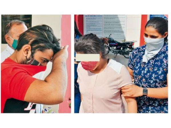अम्बाला सिटी | पकड़े गए साथी व युवती को लेकर जाती पुलिस। - Dainik Bhaskar