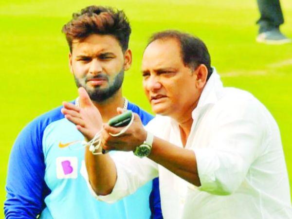 ऋषभ पंत को बैटिंग टिप्स देते भारत के पूर्व कप्तान मोहम्मद अजहरुद्दीन (दाएं)। - Dainik Bhaskar