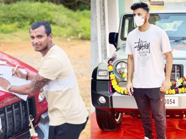 THAR SUV के साथ नटराजन (बाएं) और शार्दूल ठाकुर। - Dainik Bhaskar