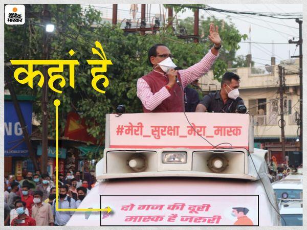 भोपाल की सड़क पर मास्क और सोशल डिस्टेंसिंग के पालन का मैसेज देने CM शिवराज सिंह चौहान निकले। जगह-जगह रुक कर लोगों से अपील की। इस दौरान लोगों ने सोशल डिस्टेंसिंग का पालन नहीं किया है। - Dainik Bhaskar