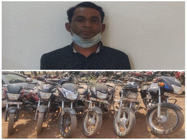 दुर्ग पुलिस ने बाइक चोर को गिरफ्तार किया है। उसके पास से 6 बाइक बरामद की गई है। - Dainik Bhaskar