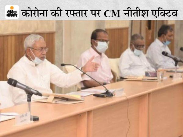 पटना में मंगलवार को कोरोना को लेकर समीक्षा बैठक करते CM नीतीश कुमार। - Dainik Bhaskar