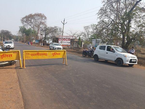 दुर्ग जिले के अंडा-बालोद जिले की सीमा पर पुलिस आने जाने वालों से पूछताछ करती रही।