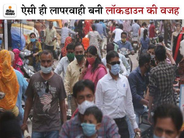 तस्वीर रायपुर के गोल बाजार की है। शाम 6 बजे से पहले इस तरह की गहमा-गहमी शहर में नजर आई। - Dainik Bhaskar
