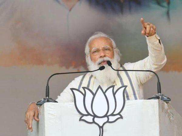 तमिलनाडु में एक सभा के दौरान PM मोदी। भाजपा ने इस बार दक्षिण में अपनी पूरी ताकत झोंकी है। पार्टी के सभी बड़े नेताओं ने यहां रैली की है।