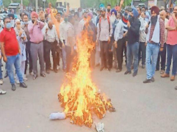 वित्त मंत्री मनप्रीत सिंह बादल का पुतला जलाते मुलाजिम। - Dainik Bhaskar