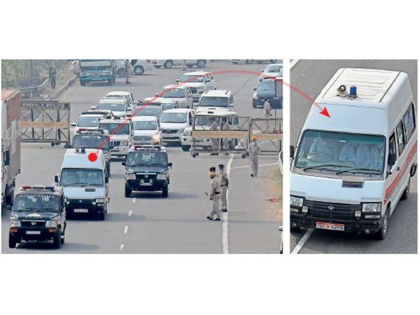 अम्बाला | सिटी के श़म्भू बार्डर से बाहुबली विधायक मुख्तार अंसारी को एम्बुलेंस में लेकर जाती यूपी पुलिस । - Dainik Bhaskar