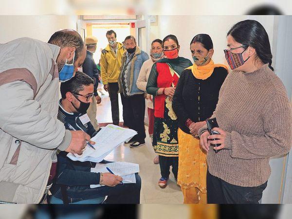 शिमला के टूटू में बिजली विभाग में बने मतदान केंद्र में मतदान करने को लगी मतदाताओं की कतार - Dainik Bhaskar