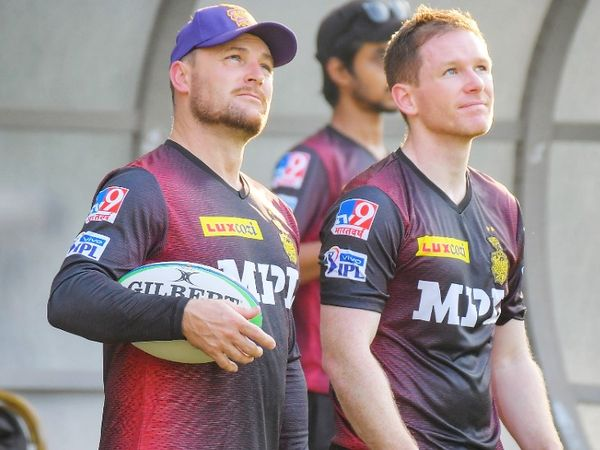 KKR coach Brandon McCullum and captain ON Morgan during the practice session.