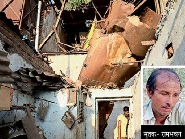 घर पर गिरा बॉयलर और इनसेट में मृतक मजदूर की फाइल फोटो। - Dainik Bhaskar