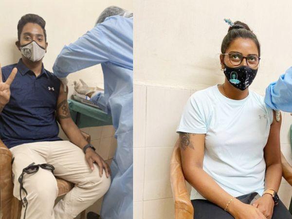 वैक्सीन का दूसरा डोज लगवाते आर्चर तरुणदीप (बाएं)। वहीं, दीपिका (दाएं) ओलिंपिक कोटा हासिल करने वाली इकलौती महिला तीरंदाज हैं। उन्होंने भी कोरोना वैक्सीन के दोनों डोज ले लिए हैं। - Dainik Bhaskar
