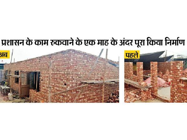 कुंडली में बनाए पक्के मकान पर बुधवार को छत डाली गई। पिछले माह इसका निर्माण कार्य प्रशासन ने रुकवा दिया था। - Dainik Bhaskar
