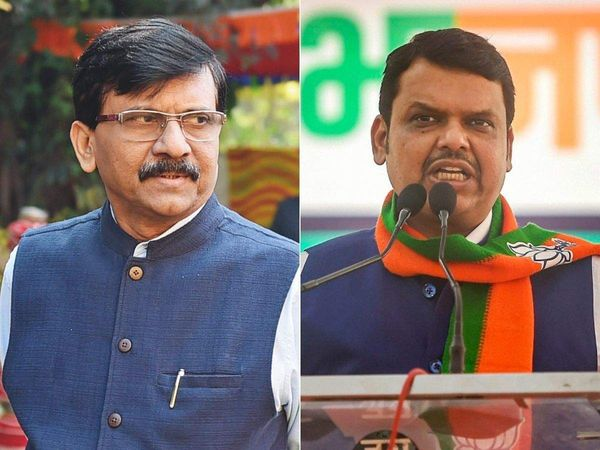 Sanjay Raut (left), Devendra Fadnavis (right).  - Dainik Bhaskar