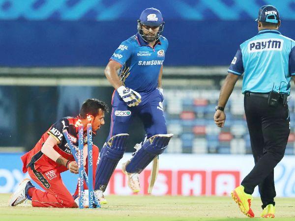 रोहित शर्मा ने 15 बॉल पर 19 रन बनाए। उन्हें युजवेंद्र चहल ने रनआउट किया।