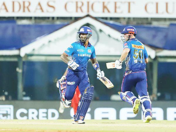 सूर्यकुमार यादव ने क्रिस लिन के साथ दूसरे विकेट के लिए 43 बॉल पर 70 रन की पार्टनरशिप कर पारी को संभाला।