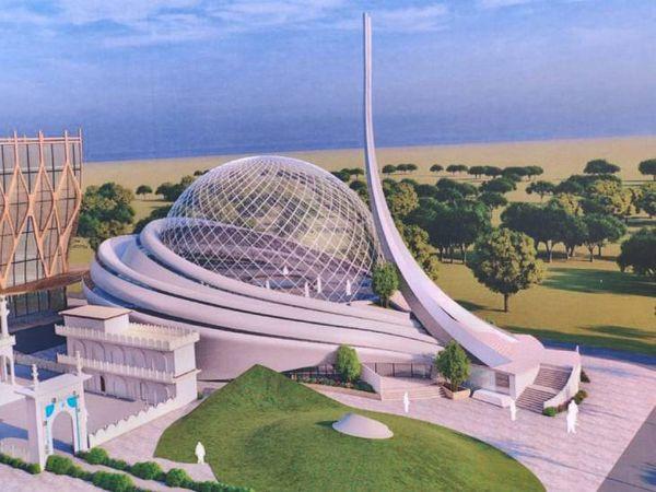 अयोध्या के धन्नीपुर में बनने वाली मस्जिद का प्रस्तावित मॉडल। - Dainik Bhaskar