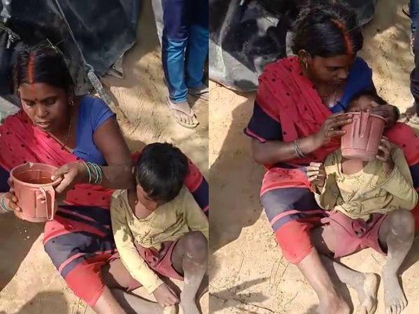 लोगों की आंखों के सामने उनकी गृहस्थी जलकर खाक हो गई। इस दौरान एक महिला अपने बच्चे की प्यास बुझाते हुए।