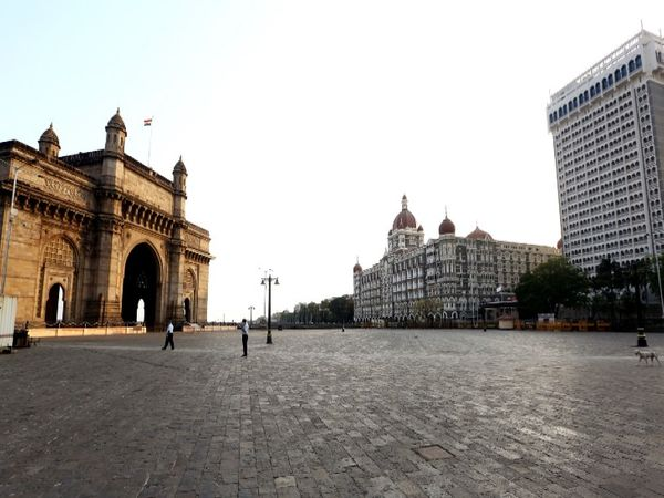 There is silence on the Gateway of India in Mumbai.  There is a lot of crowd here on normal days.
