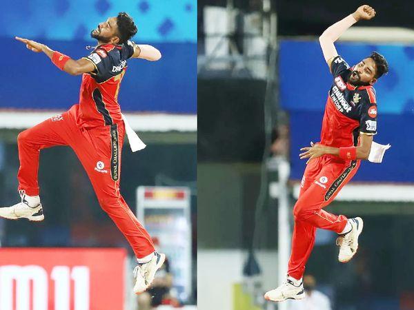 मोहम्मद सिराज ने हैदराबाद को पहला झटका दिया। उन्होंने ऋद्धिमान साहा को आउट किया। सिराज ने मैच में 2 विकेट लिए।