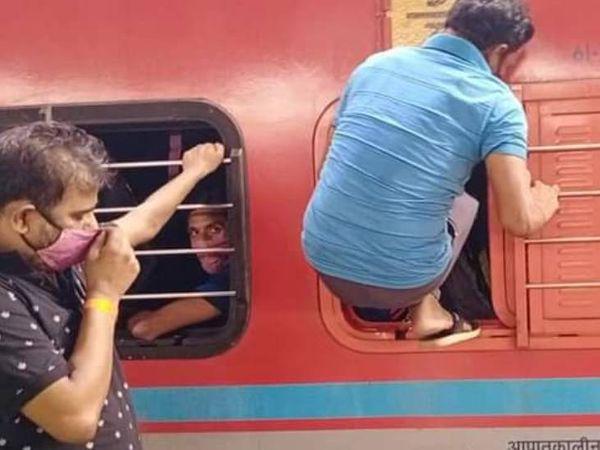 दिल्ली-मुंबई से आने उत्तर प्रदेश आने वाली ट्रेनों में भीड़ देखने को मिल रही है।