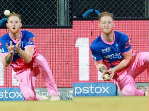 क्रिस गेल का कैच लेते राजस्थान रॉयल्स के बेन स्टोक्स। इसी दौरान उंगली फ्रैक्चर हुई।
