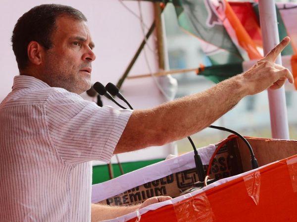 माटीगरा में चुनावी सभा के दौरान कांग्रेस सांसद राहुल गांधी।