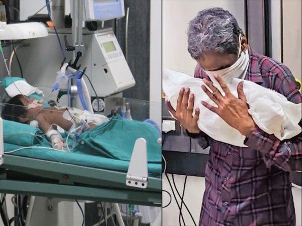 जन्म के दो दिन बच्ची को बुखार आने पर उसकी जांच की गई तो कोरोना पॉजिटिव निकली थी। इसके बाद ही बच्ची ऑक्सीजन पर थी। - Dainik Bhaskar