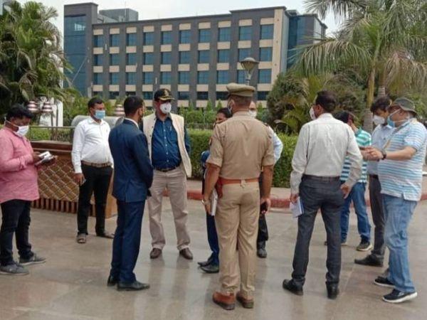 यह फोटो लखनऊ में गोल्डन ब्लॉसम रिजॉर्ट की है। DRDO की टीम ने शनिवार को इसका निरीक्षण किया था। - Dainik Bhaskar