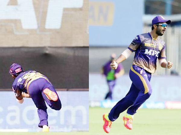 विराट के कैच के लिए डाइव लगाते राहुल त्रिपाठी (बाएं)। कैच लेने के बाद जश्न मनाते त्रिपाठी।