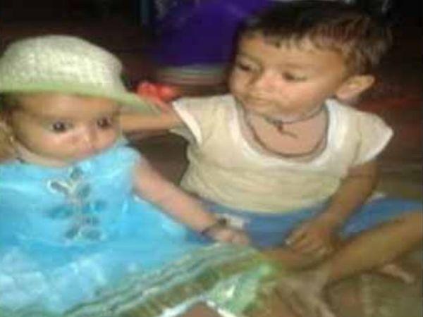 जिंदा जल गए दो बच्चों वैभव और दिव्या की फाइल फोटो।