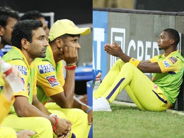 डग आउट से मैच का लुत्फ लेते रॉबिन उथप्पा, कृष्णप्पा गौतम (बाएं) और लुंगी एनगिडी (दाएं)।
