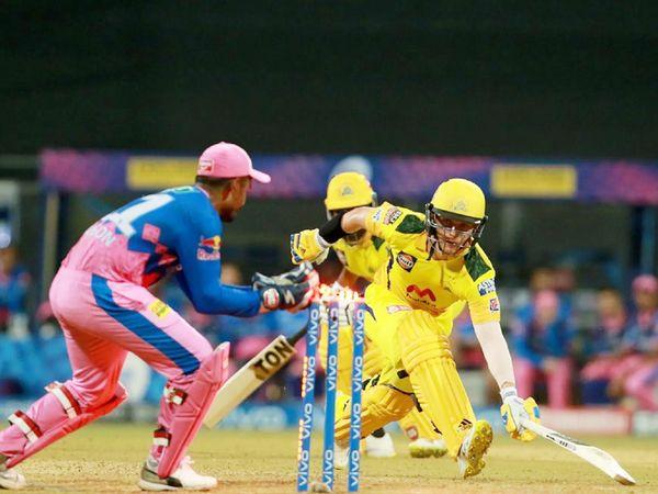 संंजू सैमसन ने CSK के सैम करन को रन आउट किया। करन ने 6 बॉल पर 13 रन बनाए।