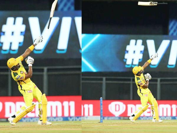 CSK की पारी के 20वें ओवर में बड़ा शॉट लगाने के चक्कर में ब्रावो के हाथ से बल्ला छूट गया।