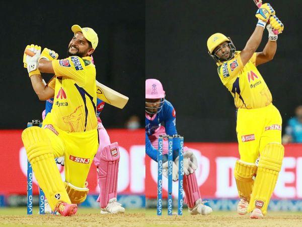 सुरेश रैना और अंबाती रायडू कुछ खास नहीं कर सके। रैना 15 बॉल पर 18 और रायडू 17 बॉल पर 27 रन बनाकर आउट हुए। चेतन सकारिया ने इन दोनों को CSK की पारी के 14वें ओवर में आउट किया।