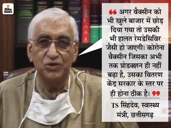 स्वास्थ्य मंत्री टीएस सिंहदेव ने वैक्सीन को राज्य सरकारों द्वारा खरीदे जाने की प्रक्रिया पर आपत्ति जताई है। - Dainik Bhaskar