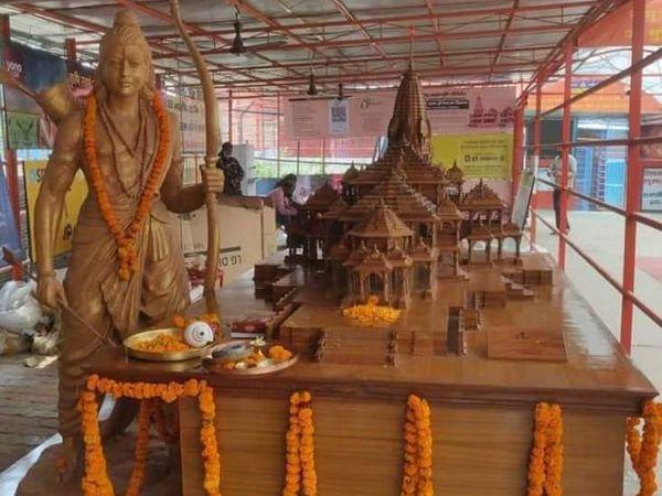 हैदराबाद के शरद बाबू द्वारा लकड़ी से बनाया गया राम मंदिर मॉडल मंदिर परिसर में स्थापित किया गया। साथ-साथ प्रभात मूर्ति कला केन्द्र ग्वालियर से बनकर आई भगवान राम की 7 फीट ऊंची प्रतिमा भी परिसर में स्थापित हुई।