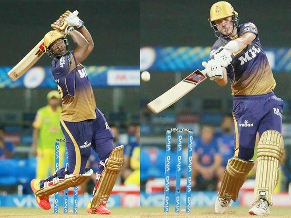 कोलकाता टीम के ऑलराउंडर आंद्रे रसेल और पैट कमिंस ने फिफ्टी लगाई।