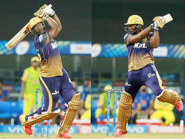 221 रन के टारगेट का पीछा करते हुए आंद्रे रसेल ने 22 बॉल पर 54 रन की पारी खेली। उन्होंने अपनी पारी में 6 छक्के लगाए।