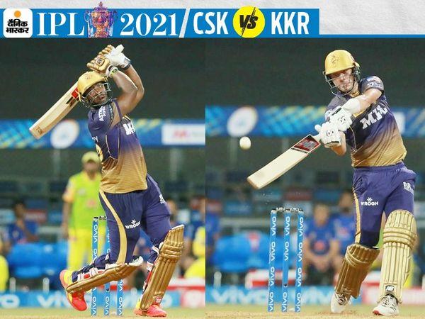 आंद्रे रसेल ने IPL में अपनी 9वीं और पैट कमिंस ने दूसरी फिफ्टी लगाई। दोनों ने अपनी पारी में 6-6 छक्के लगाए। - Dainik Bhaskar
