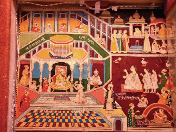 इस पेंटिंग में अकबर और हीरविजय सूरीजी की मुलाकात को दिखाया गया है।